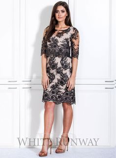 A stylish cocktail dress by Laura K. A high neck style featuring an embroidered mesh lace and scalloped hem. Lace Dresses, Short Sleeve Dresses, Prom Dresses, Wedding Dresses, Dress For You, Dresses For Work, White Runway, Dresses Online Australia, Bridesmaid Dresses Online