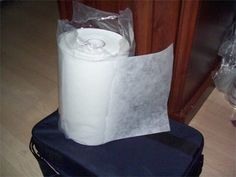 Keep your roll of stablilizer in a plastic bag to keep it clean...cut a slit to pull it through