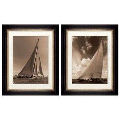 Ben Wood Set of 10 Framed J Class World Yachts