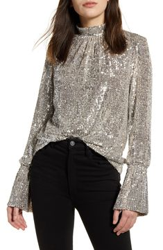 Women's Zadig & Voltaire Sequin Bell Sleeve Top, Size X-Small - Metallic Bell Sleeves, Bell Sleeve Top, Taylor Dress, Casual Elegance, Long Sleeve Bodysuit, Blouse Styles, Long Sleeve Tops, Sequins, Clothes For Women