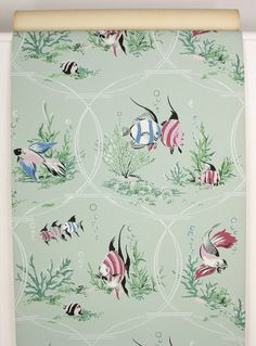 1940s Vintage Wallpaper Pink Blue Fish Seaweed on Green by the | Etsy