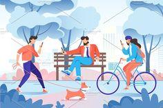 City park illustration bench tree dog phone bike c Bike Illustration, Flat Design Illustration, People Illustration, Character Illustration, Digital Illustration, Family Illustration, Graphic Illustrations, Illustration Styles, Medical Illustration