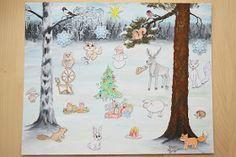 Meillä on ollut kahtena peräkkäisenä vuonna tarina-joulukalenteri. Olen itse maalannut taustan ja keksinyt siihen kaksi eri tarinaa. Mietin... Arts And Crafts, Seasons, Kids, Children, Prints, Christmas, School, Toddlers, Toddlers