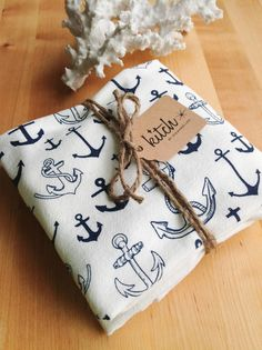 Ahoy! Hand screen printed Pirate Ship dish towel (1) by KITCH...Sure to cute - up any kitchen! With our original anchor design, this towel is