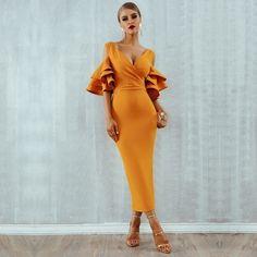 6145029f6 Adyce New Summer Women Club Dress Vestidos Verano 2019 Celebrity Party  Dress Yellow Red Ruffle Butterfly