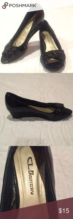 Chinese Laundry Patent Leather Wedges Chinese Laundry black patent leather peep toe wedges. These wedges are a size 6 1/2 with a 2 1/2 heel. Super cute for a business casual look. Chinese Laundry Shoes Wedges