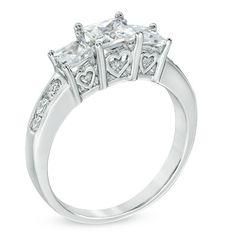 1-1/2 CT. T.W. Princess Cut Diamond Three Stone Past Present Future Ring in 14K White Gold - Zales