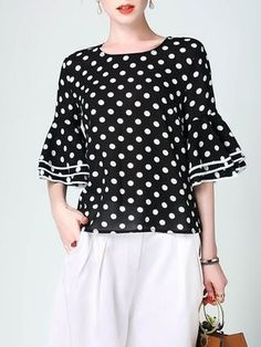 I love polka dots tops.