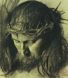 Head of Christ painting  -  Franz Von Stuck Head of Christ Art Print