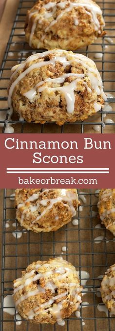 Enjoy all the great flavors of cinnamon buns in these quick and simple Cinnamon Bun Scones. - Bake or Break ~ Brownie Desserts, Oreo Dessert, Mini Desserts, No Bake Desserts, Cinnamon Scones, Cinnamon Bun Cake, Cinnamon Biscotti Recipe, Cinnamon Drink, Cinnamon Hair