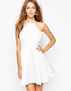 missguided lace skater dress with back detail  white #offduty #lacedress #lace #feminie #sporty #covetme
