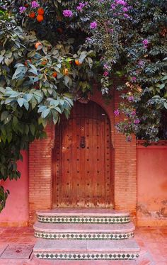 Good example of a courtyard door.  Something big so we can open it wide to let the breeze in.  (How to do a wall for privacy without blocking out breezes?  Slat?  Port-windows?  Trellises?)  Tam really likes the orange next to the flowers.