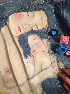 "In process @zaraofficial denim jacket . My new artwork on denim jacket, part of ""three ages of woman"" by Gustav Klimt. . #artfashion #Art #work on #Denim #jacket #Handpainted #cosmos #handmade #fashion #jeans #streetfashion #style #elle #stylish #vogue #fashionweek #streetstyle #drawing #harmony #klimt #gustav"