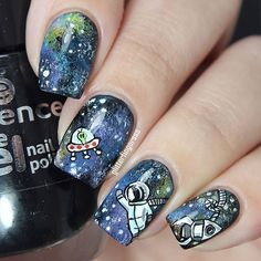 """""""A normal day in space... #galaxynails for #31DC2015 Sponged & handpainted. #freehand_nailartist #nails2inspire #polishlicious #craftyfingers #nailartwow #nailsoftheday #nailartoohlala #sgnailartpromote #jjnailpromote #nailitdaily"""" Photo taken by @glitterfingersss on Instagram, pinned via the InstaPin iOS App! http://www.instapinapp.com (09/19/2015)"""