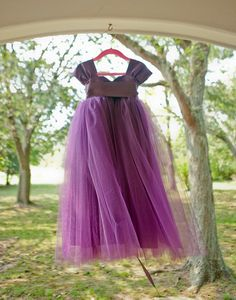 Purple Flower Girl Dress ... love this look   and could snap it up with some Orange flower (s)  and headband maybe to match your flowers .. purple and orange