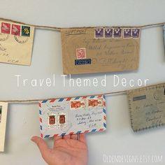 Travel Banner, Mail Banner, Travel, Vintage Envelopes, Air Mail, Post Office, Postal, Par Avion, Travel Decor, Pen Pail, Letter Writing