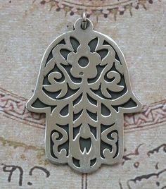 Khamsa, Hamsa, Hand of Fatima Sterling Silver Pendant Hamsa Tattoo Design, Hamsa Design, Tattoo Designs, Ethnic Jewelry, Metal Jewelry, Hand Symbols, Hand Of Fatima, Eye Necklace, Earrings