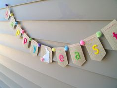 Happy Easter Burlap Bunting with Bunny and Pom Poms by AFeltAffair, $16.00
