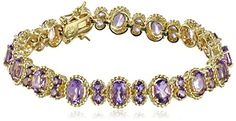 """18k Yellow Gold Plated Sterling Silver Brazilian Amethyst Oval Twisted Tennis Bracelet, 7.25"""" *** See this great product."""