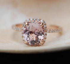 Peach Sapphire Ring Rose Gold Engagement Ring 2.3ct cushion 14k rose gold diamond ring.