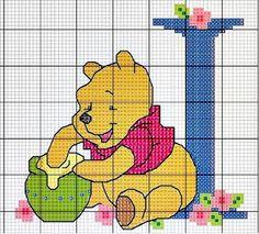 Winnie the Pooh cross stitch Cross Stitch Letters, Cross Stitch For Kids, Beaded Cross Stitch, Cross Stitch Baby, Cross Stitch Charts, Cross Stitch Embroidery, Disney Stitch, Disney Cross Stitch Patterns, Modern Cross Stitch Patterns
