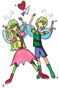 Willow & Whitney, the Fairy Twins: competitive, fun-loving and active. Meet them at Petalwink.com