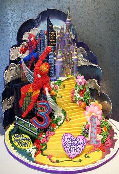 Rosebud Cakes - 24 Year Anniversary for twins-boy and girl Gorgeous Cakes, Amazing Cakes, Rosebud Cakes, Twins Cake, School Cake, Superhero Cake, Sugar Craft, Cake Gallery, Cake Pictures