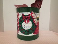 CHRISTMAS UTENSIL HOLDER Recycled Can by KreationsGalore on Etsy