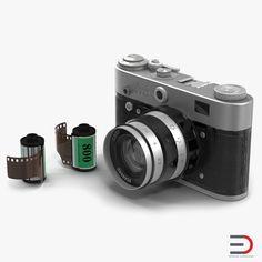 Vintage Film Camera Fed 3 3D Models Set