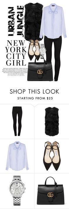 """C I T Y  G I R L"" by s-a-c1 ❤ liked on Polyvore featuring H&M, J Brand, Rochas, Jimmy Choo, Tommy Hilfiger, Gucci, women's clothing, women, female and woman"
