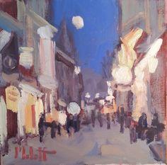 Heidi Malott Original Paintings: City Lights Saturday Night Original Oil Painting