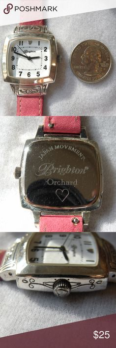 "♥Brighton Orchard Watch with Pink Leather Band♥ There are very, very minimal scratches on the crystal.  There are scratches and some finish wear on the case adn buckle.  The band will fit a wrist up to 7"". Brighton Accessories Watches"
