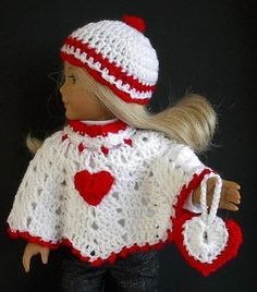 American Girl Doll Clothes Crocheted Valentine by Lavenderlore
