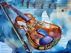 Pinturas de Isabel Carolina Mediavilla: Violín y Saxofón