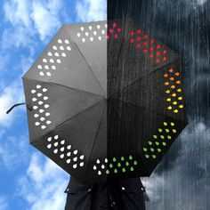 raindrops change colour from white to colourful in this rainbow umbrella colour changing umbrella