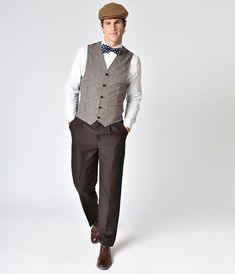 Men's Vintage Style Pants, Trousers, Jeans, Overalls Woven Mens Slacks $38.00 AT vintagedancer.com