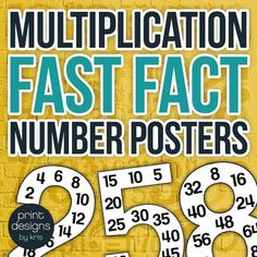 Grab this super helpful and handy set of 12 Number Posters with the Multiplication Facts up through 12. Hang these in your classrooms for your students learning their multiplication tables or as a refresher for those who learned them long ago. Posters for