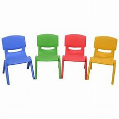 Kids' Desk Chairs - Costzon Set of 4 Kids Plastic Chairs Stackable Play and Learn Furniture Colorful New >>> More info could be found at the image url. Kids Plastic Chairs, Plastic Tables, Toddler Table, Toddler Chair, Inflatable Chair, Diy Home, Home Decor, Colorful Chairs, Green Chairs
