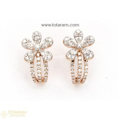 Diamond Earrings for Women in 18K Gold VVS Clarity E-F Color -Indian Diamond Jewelry -Buy Online Diamond Earrings For Women, Diamond Dangle Earrings, Diamond Earing, Women's Earrings, Diamond Jewelry, Gold Necklace, Indian Wedding Jewelry, Indian Jewelry, Diamond Jhumkas