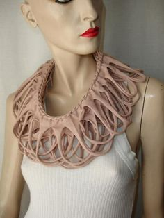 womens shredded braided cotton jersey by JohnnyVegasOriginals Scarf Necklace, Scarf Jewelry, Textile Jewelry, Fabric Jewelry, Leather Jewelry, Jewellery, Diy Scarf, Scarf Shirt, T Shirt Recycle