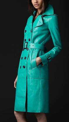 Vibrant bonded leather trench coat. Just look at that colour!