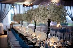 Baby breath centerpiece...I have always imagined this- and here it is! :)