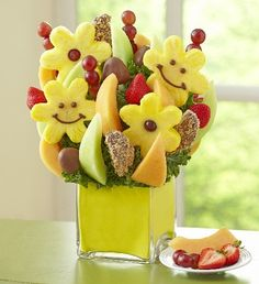 Smiles All Around™ - Fruit Bouquet Arrangement in chic cube vase