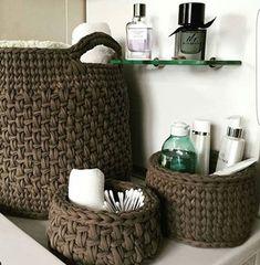 61 Ideas home decored diy storage baskets Crochet Storage, Crochet Diy, Crochet Home Decor, Crochet Basket Pattern, Knit Basket, Crochet Patterns, Crochet Baskets, Yarn Projects, Crochet Projects