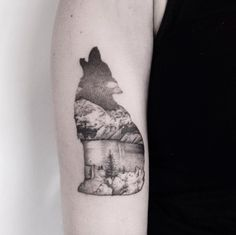 Howling+wolf+landscape+tattoo+by+Marabou