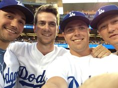 Los Angeles Kings Alec Martinez, Martin Jones, Tanner Pearson and Tyler Toffoli at Dodger's Stadium in LA