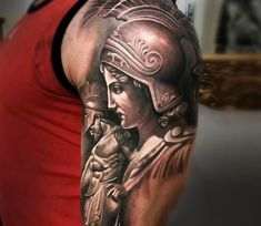 Gorgeous black and grey realistic tattoo style of Athena and Ares motive done by tattoo artist Arlo DiCristina Athena Tattoo, Aphrodite Tattoo, Goddess Tattoo, Forearm Tattoos, Body Art Tattoos, Hand Tattoos, Sleeve Tattoos, Arlo Tattoo, Tattoo Deus