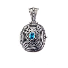 Locket pendant in Sterling Silver Blue Zircon, Byzantine, Gems, Pendants, Sterling Silver, Handmade, Jewelry, Hand Made, Jewlery