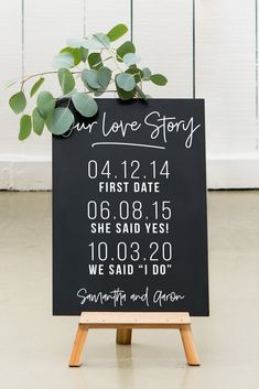 Custom Wedding Chalkboard Sign - Love Story Dates Custom printed with the most meaningful dates that make up the bride and groom's history and the couple's names, you get. Wedding Date Sign, Wedding Table, Diy Wedding, Dream Wedding, Wedding Day, Wedding Ceremony, Reception, Wedding Advice, Chalkboard Signs For Wedding