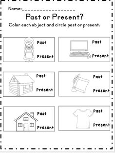 Past or present activity (unit on long ago and today)